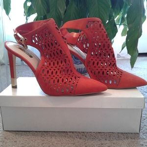 Red Suede Bootie  by GUESS